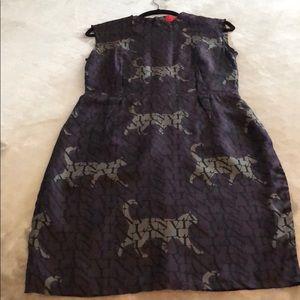 Lanvin Silk Sleeveless Logo & Cat Print Dress